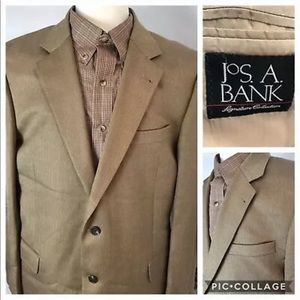 JOS A BANK Silk Camel Hair Herringbone 44L Blazer